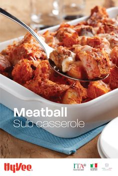 Meatball Sub Casserole - A quick and hearty Italian meal is easier than you think. Instead of assembling an individual sandwich for everyone, toss just 4 ingredients into a casserole dish and bake. It's really that simple. Healthy Eating Recipes, Meat Recipes, Slow Cooker Recipes, Crockpot Recipes, Cooking Recipes, Salad Recipes, Recipies, Make Ahead Meals, Quick Meals