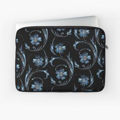 'Pearly Blue Floral Pattern' Laptop Sleeve by HavenDesign Laptop Sleeves, Pear, I Shop, My Arts, Art Prints, Printed, Awesome, Floral, People