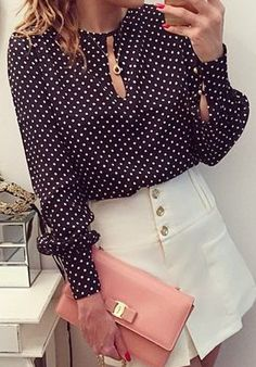 Cute Round Neck Long Sleeve Polka Dot Chiffon Blouse - Love this