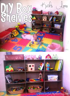 How to Make A Shelf Out Of Cardboard Boxes Kids Area DIY {Click image to Read More} #DIY #cardboard #shelf