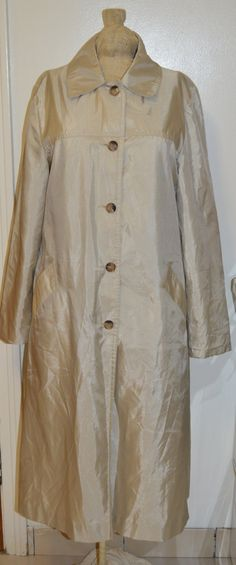 Vintage 80s Rainy Daze Trench Rain Coat Womens SZ 12 Sateen Button Beige Khaki by PunkHippieFunkShop on Etsy