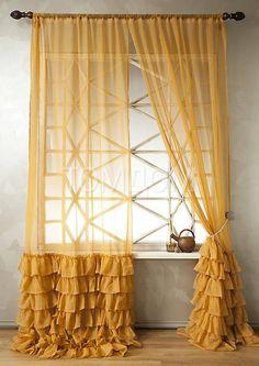 Home Decor Furniture, Home Decor Bedroom, Home Furnishings, Diy Home Decor, Ruffle Curtains, Home Curtains, Curtain Styles, Curtain Designs, Rideaux Du Bow Window
