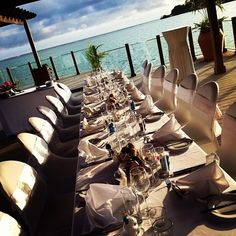 Reception set up at Warwick Le Lagon Resort Vanuatu. Table centerpieces were made from driftwood