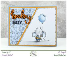 I have a baby card to show you today. I've made it using the cutest Lili of the Valley stamp, which I absolutely adore! It The text is chipboard by Make it Crafty, which I coloured in to matc… Whimsy Stamps, Mft Stamps, Boy Post, Tiddly Inks, Baby Boy Cards, Coloring Tutorial, Sympathy Cards, Soft Colors, Homemade Cards