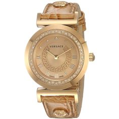 Versace S999 Vanity Analog Display Swiss Quartz Gold Watch ($1,661) ❤ liked on Polyvore featuring jewelry, watches, versace, water resistant watches, gold wrist watch, swiss quartz watches and versace jewellery