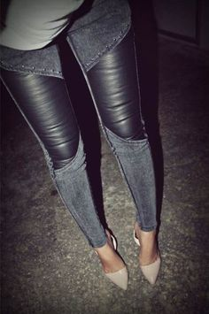 jeans and leather, nude pumps