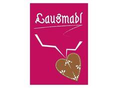"""Das """"Lausmadl""""-Bild ist das Pendant zum Lausbub. In frischem Pink mit einem Lebkuchen-Herzerl - die Auszeichnung für freche Mädels."""