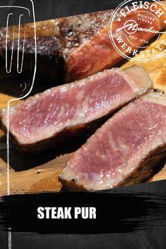 Keine Angst vor Steaks! Wenn man großartiges Fleisch hat, braucht es nicht viel dazu. Wir reduzieren auf den puren Fleischgenuss mit zarten Rosmarinkartoffeln. Angst, Steaks, Tuna, Fish, Meat, Beef, Food Food, Food Recipes, Atlantic Bluefin Tuna
