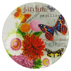 Add jetsetting style to your dining table with this charming glass canape plate, showcasing a carte postale motif with butterfly accents.  ...
