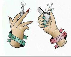 dope art Tag your best bitch! Bestie Tattoo, Bff Tattoos, Best Friend Tattoos, Arte Dope, Dope Art, Drugs Art, Stoner Art, Weed Art, Clown Tattoo
