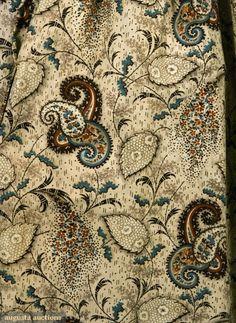 Augusta Auctions Tasha Tudor Coll.  Paisley print dress c1835-40