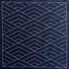 Japanese Sashiko Panel - Hishi Seigaiha (diamond waves) panel # 2037