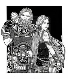 Thor and Sif. This is an illustration created with pencil on Bristol board and then finished with Pitt ink pens of various sizes. Thor is the