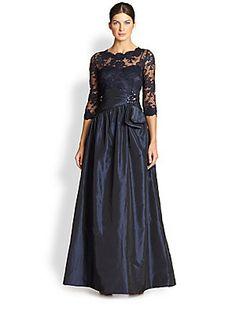 Teri Jon Embroidered Illusion Gown