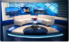 I don't hate the chairs.A little cliche, but quite a bit better than some others! Design Set, Stage Set Design, Studio Design, News Design, Design Ideas, Virtual Studio, Tv Sets, Presentation Layout, Tv Decor