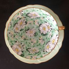 Vintage Shelley Green Daisy Chintz Cup & Saucer Oleander Shape/made in…