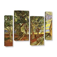A Corner Of Saint-Paul Hospital by Vincent Van Gogh 4 Piece Gallery-Wrapped Canvas Staggered Set