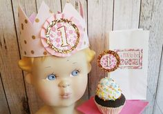 First birthday,One year old Party, Polka dot glitter crown,Gold glitter cupcake…