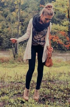 Adorable Back-to-School Outfits for Teens ... →  The Layered Look -- You can never go wrong with a layered look, and you'll see many on this list. This outfit layers a cardigan and an infinity scarf over a graphic tee and leggings.