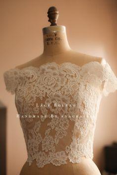 Alencon Lace Wedding Dress Bolero Topper for a Southern Bride