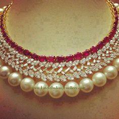 Ravishing Ruby Diamond Pearl Necklace | Latest Indian Jewellery ...