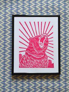 Roaring Bear Linoprint £20.00