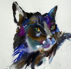 Natalie Graham - Watercolour black cat painting - Artists ...