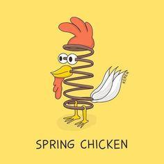 Funny Pun: Spring Chicken Easter sayings Punny Puns, Puns Jokes, Cute Puns, Dad Jokes, Funny Cute, Food Puns, Corny Jokes, Food Humor, Funny Food