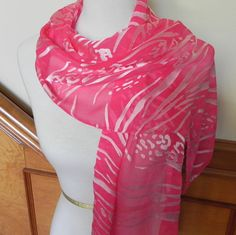 Long Cut Devore Satin Scarf Hand Dyed a by RosyDaysScarves on Etsy, $39.95