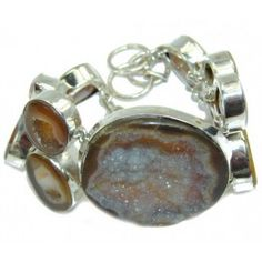 925 SOLID STERLING FINE SILVER CLASSIC BEAUTY BROWN AGATE DRUZY BRACELET