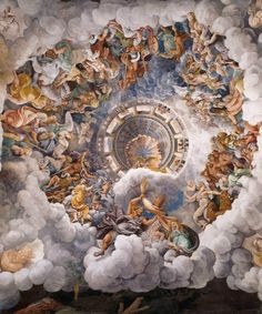 Giulio Romano - Vault - The Assembly of Gods around Jupiter's Throne Stanza dei Giganti, Palazzo Te a Mantova