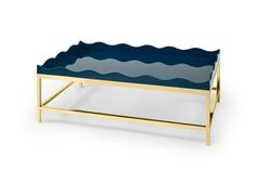 Brass & lacquer coffee table with wavy edge detail | Rita Konig Collection