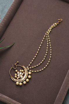 Dipanita Kundan and Pearls Nosepin – Paisley Pop Shop Indian Jewelry Earrings, Fancy Jewellery, Nose Jewelry, Indian Wedding Jewelry, India Jewelry, Western Jewellery, Diamond Jewellery, Indian Bridal, Jewlery