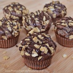 Protein Treats By Nicolette : Chocolate Peanut Butter Crumble Protein Muffins Protein Powder Recipes, High Protein Recipes, Protein Foods, Snack Recipes, Dessert Recipes, Protein Mix, Protein Desserts, Protein Power, Healthy Sweet Treats