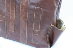 """Leather with vintage lining Tote Bag or Diaper Bag """"The Raleigh"""" by FreeRoseStudio"""