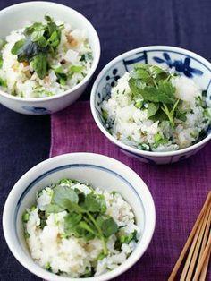 Pork and Yam Rice with Watercress 豚肉とクレソンと山芋のごはん