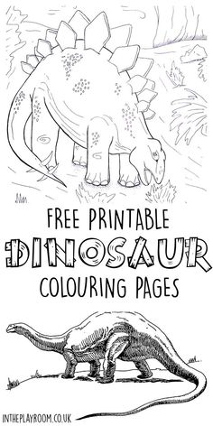 Set of 5 free printable dinosaur colouring pages featuring realistic dinosaurs and dinosaur scene. My boys will love these