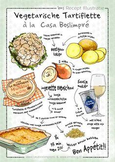 recept-illustratie-vegetarische-tartiflette-irms. Geillustreerd recept van Irms voor Casa Boslimpré. Een heerlijke maaltijd van een inspirerende vakantieplek in de Vogezen. Ook jou recept laten tekenen? Neem contact op!