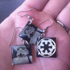 Awesome Storm Trooper Earrings!!! I just got them on Listia.com!