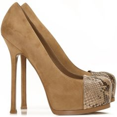 Ysl shoes   Yves Saint Laurent - Tribtoo beige suede and python toe cap shoes ...