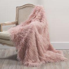 "House of Hampton Greta Faux Fur Throw Blanket Color: Pink, Size: 58"" W x 60"" L"
