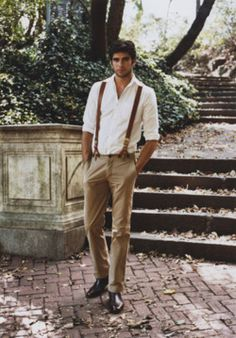 love the suspenders with the white shirt and rolled up sleeves
