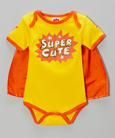 Another great find on #zulily! Gold 'Super Cute' Cape Bodysuit - Infant by Wry Baby #zulilyfinds