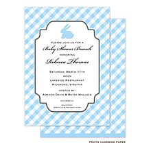 Adorable Blue Bunny Baby Boy Shower Invitation with vintage gingham blue and white. Use Coupon code LA10 to get a 10% DISCOUNT!