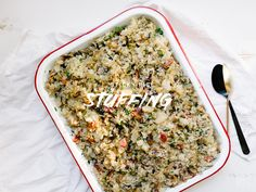 You know you've found a good recipe when you look forward to eating the  leftovers. This, my friends, is that recipe. Sticky. Rice. Stuffing. Boom.