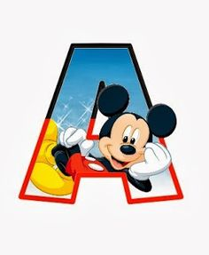 Alphabets of assorted characters and cartoon people-Alfabeto de personajes Disney con letras grandes A Mickey. Mickey Mouse Letters, Disney Letters, Fiesta Mickey Mouse, Mickey Mouse Photos, Disney Alphabet, Mickey Mouse Cartoon, Baby Mickey, Mickey Party, Mickey Mouse Birthday