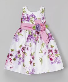 Look what I found on #zulily! Mauve Floral Stripe Shantung Dress - Toddler & Girls #zulilyfinds