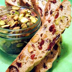Cranberry Pistachio Biscotti Recipe I love this recipe, but I use almonds instead of pistachios and I chop them in my food processor.  Made it many times.