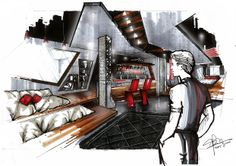 perspective drawing for my Design Studio 1 Final Project at RDI Singapore. A mixed drawing by graphic tablet, hand drawing, rendered with COPIC marker and digitally enhanced with photoshop.