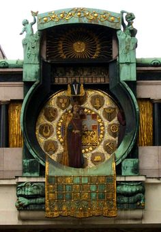 Art Nouveau Anker Clock in Vienna
